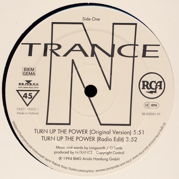 N-TRANCE - Turn Up The Power - 12 inch x 1