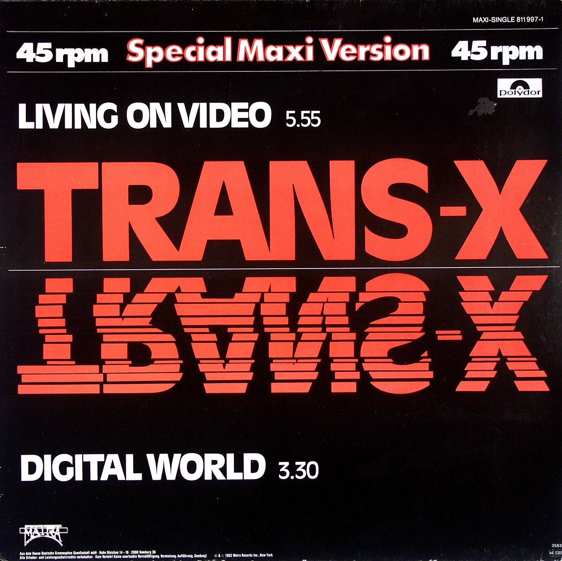 TRANS-X - Living On Video - 12 inch x 1
