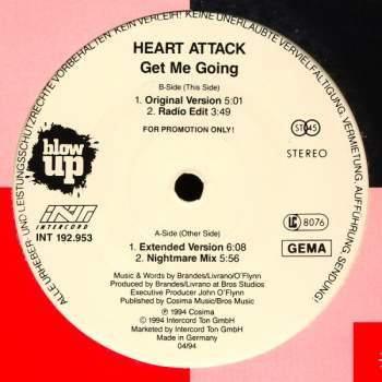 HEART ATTACK - Get Me Going - 12 inch x 1